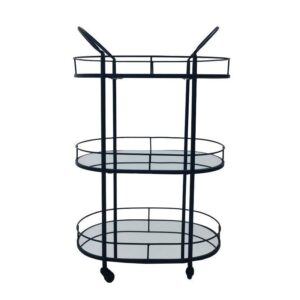 3 Tier Metal Black Mirror Drinks Trolley Bar Cart