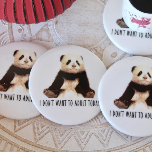 Adult Panda Black White Ceramic Coasters - Set of 4