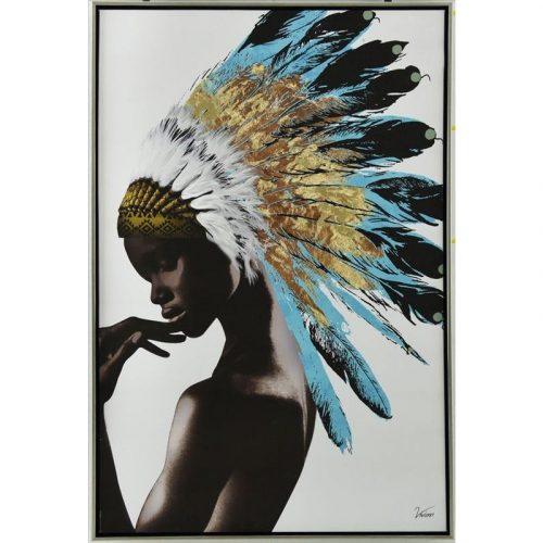 American Headdress Girl Framed Canvas Print Wall Art