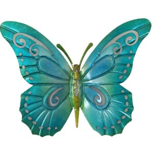 Aqua Teal Blue Hanging Butterfly Metal Wall Art