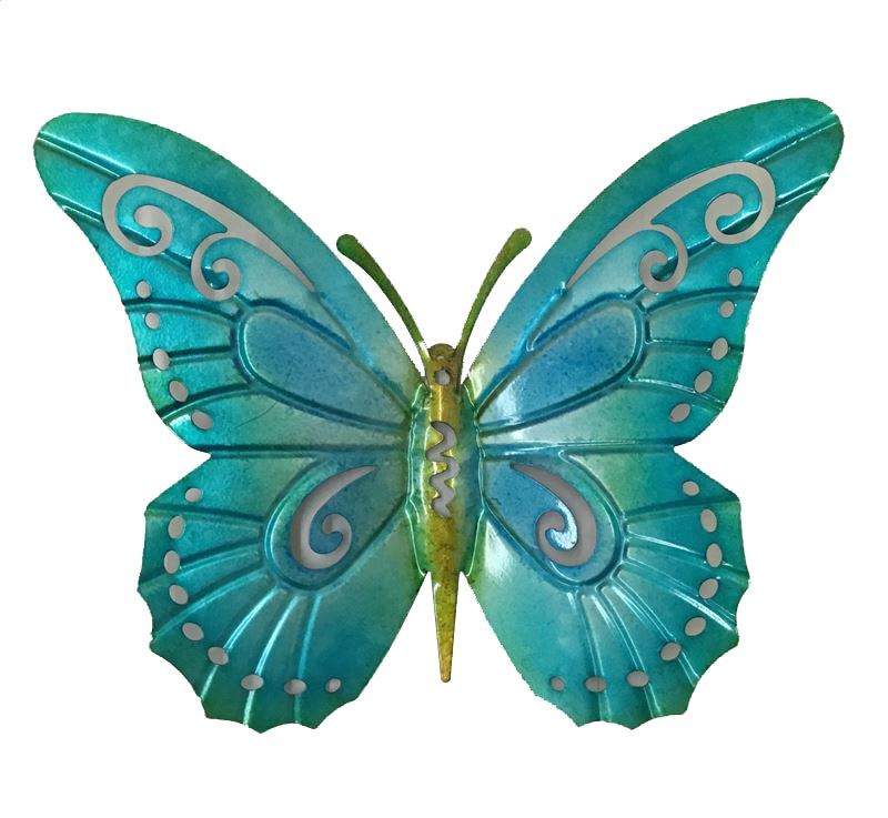 Aqua Teal Blue Hanging Butterfly Metal Wall Art