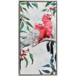 Australian Pink Cockatoo Bird Framed Canvas Print Wall Art