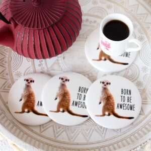Awesome Funny Brown Meerkat Ceramic Coasters - Set of 4