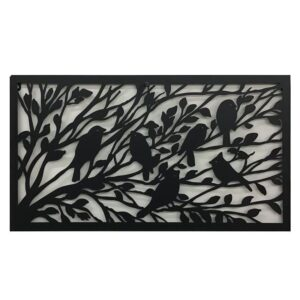 Birds Sitting On Tree Branches Metal Wall Art