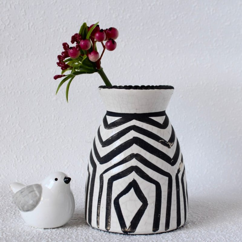 Black And White Tribal Haxan Ceramic Vase