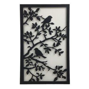 Black Birds On Tree Large Laser Cut Metal Wall Art