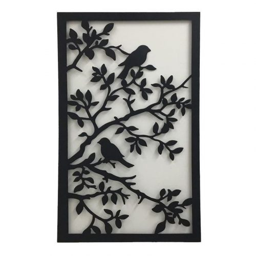Black Birds On Tree Large Laser Cut Metal Wall Art