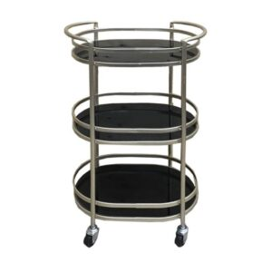 Black Glass Metal Bar Cart Alcohol Drinks Cabinet Trolley
