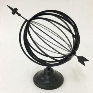 Black Metal World Orbit Obelisk Globe With Arrow Ornament