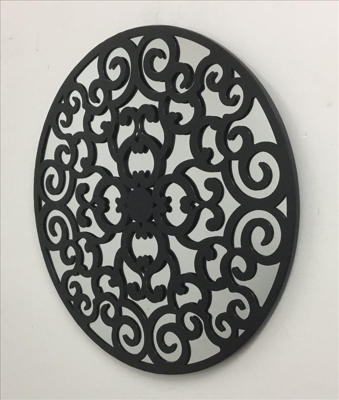Black Tin French Country Scroll Mirror Metal Wall Art