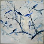Blue Birds On Tree Branches Framed Canvas Print Wall Art