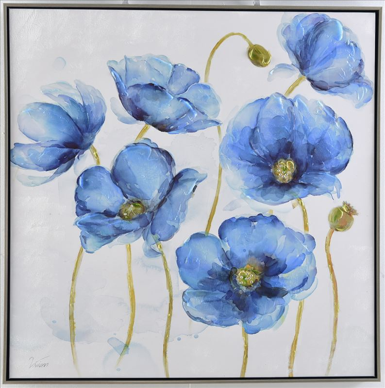 Blue Poppy Flowers Framed Canvas Print Wall Art