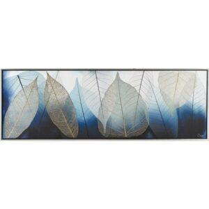 Blue Tree Leaves Framed Canvas Print Wall Art