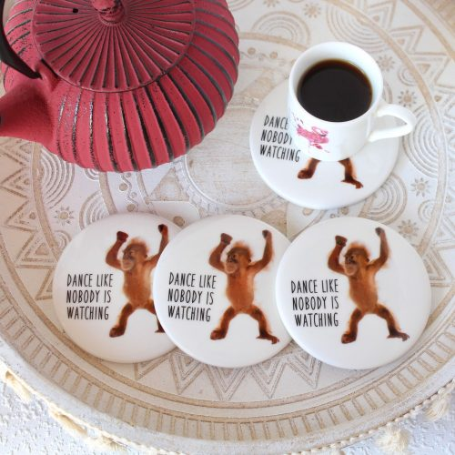 Brown Dancing Orangutan Monkey Ceramic Coasters - Set of 4