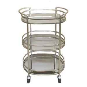 Champagne Metal Mirror Bar Cart Drinks Cabinet Trolley