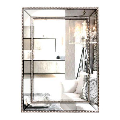 Contemporary Silver Beaded Rectangle Wall Mirror