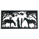 Country Farm Girl Boy Horse Laser Cut Metal Wall Art