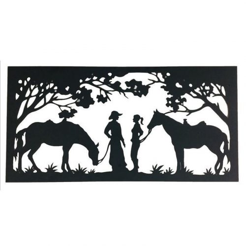 Country Farm Girl Boy Horse Laser Cut Metal Wall Art