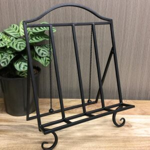 Country Style Black Metal Cook Book Stand Recipe Holder