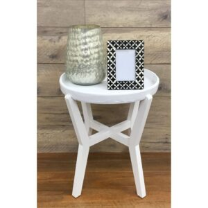 Country White Round Nightstand Drawer Bed Side Table