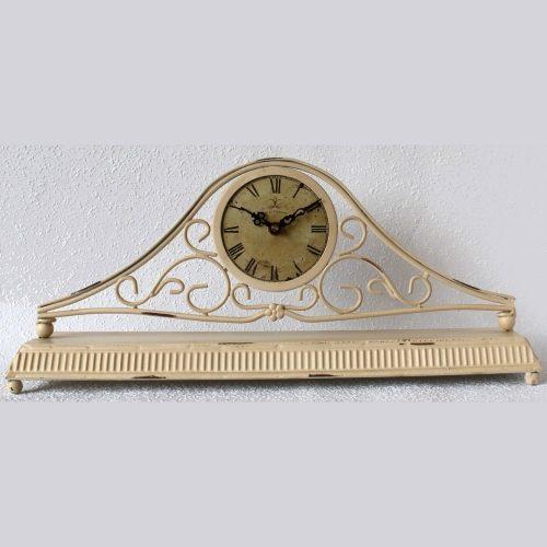 Cream French Scroll Metal Table Desk Clock