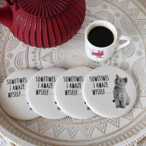 Cute Grey Cat Kitten White Ceramic Coasters - Set of 4