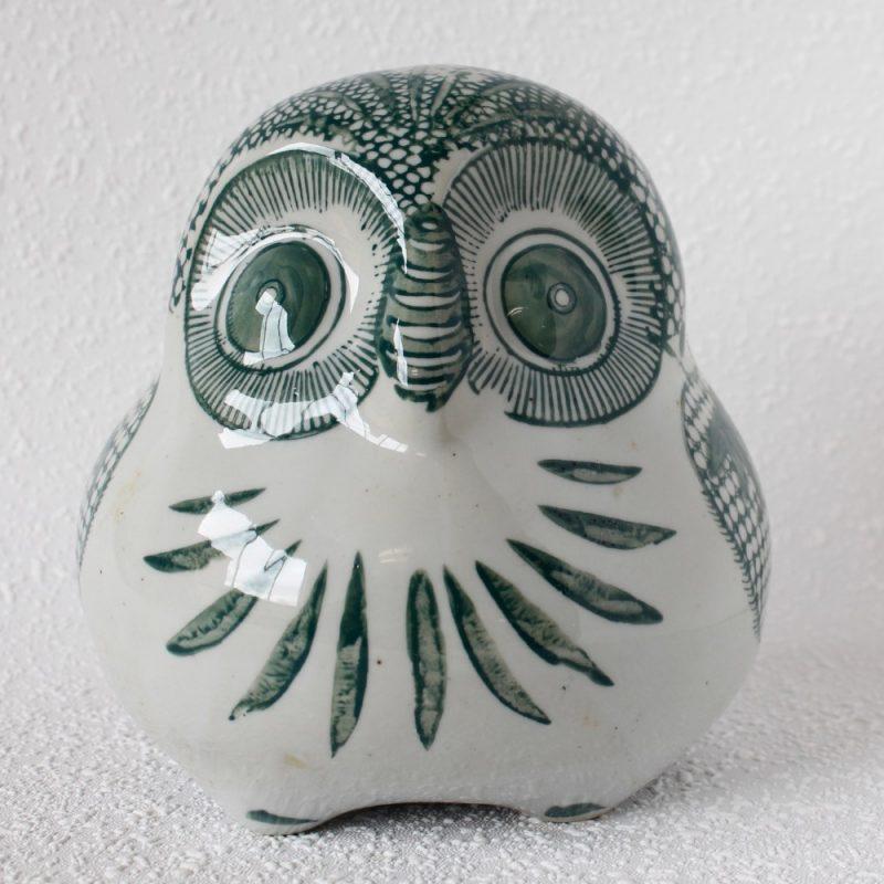 Cute Urban White Green Ceramic Owl Statue Figurine