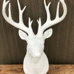 Deer Stag Bust Head White Resin Wall Hanging Animal Figurine