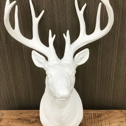 Deer Stag Bust Head White Resin Wall Hanging Animal Figurine