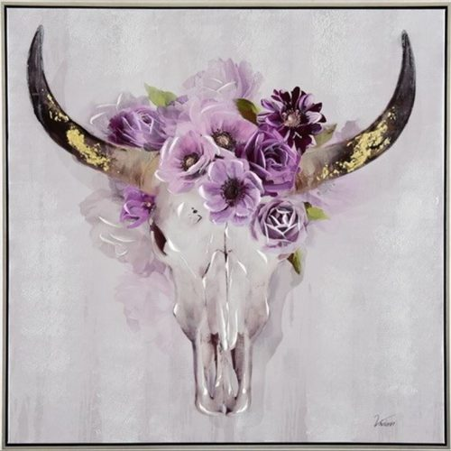 Deer Stag Head With Flowers Framed Canvas Print Wall Art