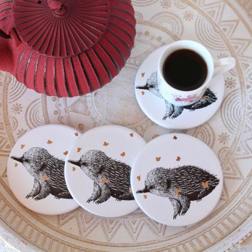 Echidna Golden Butterflies White Ceramic Coasters - Set of 4