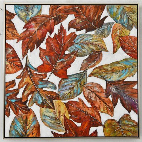 Falling Autumn Leaves Framed Canvas Print Wall Art