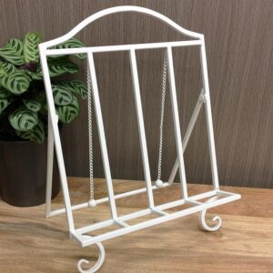 Farmhouse Style White Metal Cook Book Stand Recipe Holder