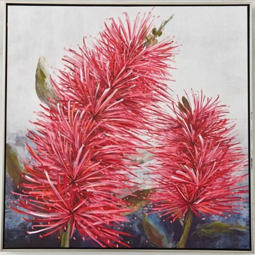 Floral Bottle Brush Plant Framed Canvas Print Wall Art