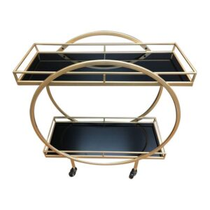 Gold And Black Deco Glass Metal Bar Cart Drinks Auto Trolley