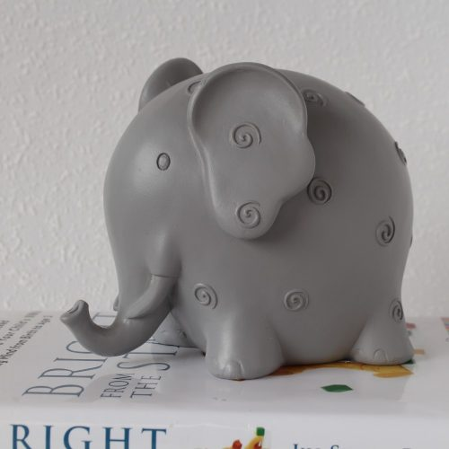 Grey Resin Elephant Money Box Piggy Bank
