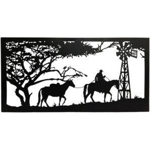 Horse Windmill Country Scene Laser Cut Metal Wall Art