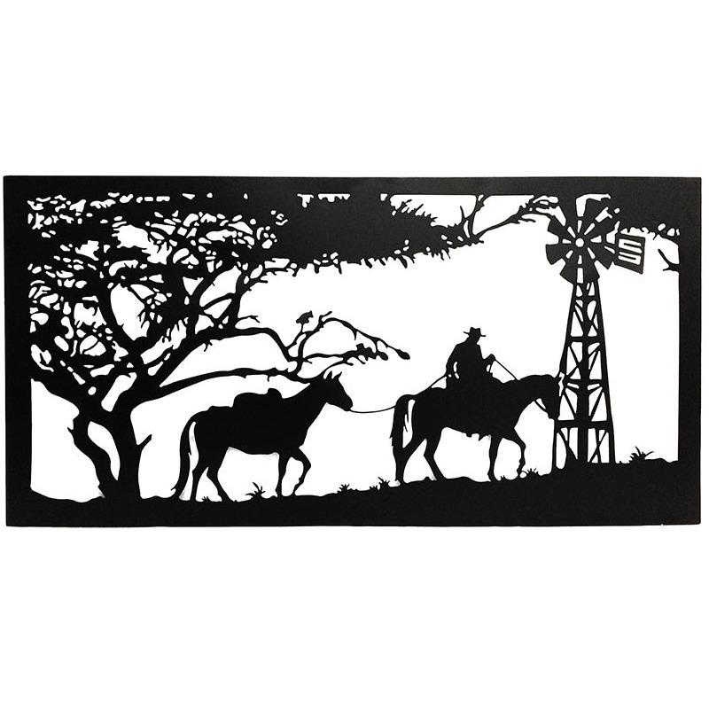 Horse Windmill Country Scene Laser Cut Metal Wall Art