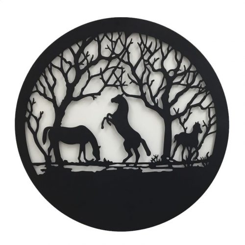 Large Black Country Horses Laser Cut Metal Wall Art