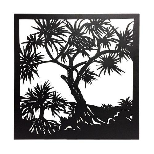 Large Black Framed Tropical Forest Metal Wall Art