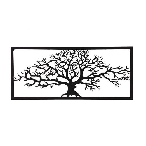 Large Black Framed Winter Tree Of Life Metal Wall Art
