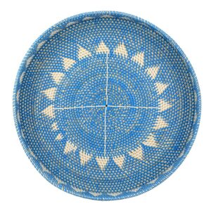 Large Hamptons Blue White Rattan Weave Serving Tray