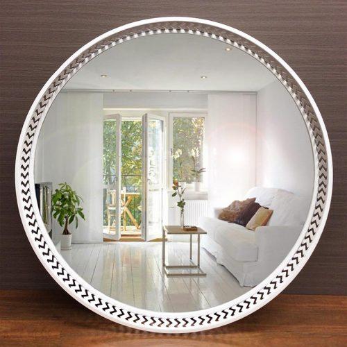 Large Luxe Coastal White Metal Round Wall Mirror