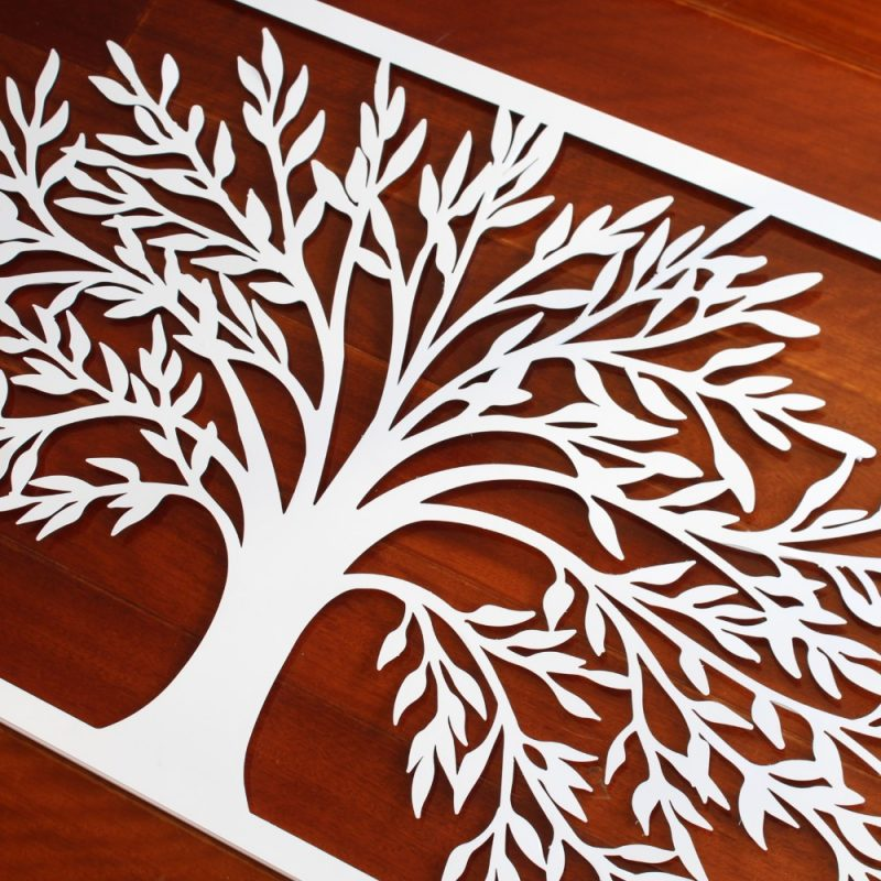 Large White Framed Tree Of Life Metal Wall Art 123cm - Dalisay