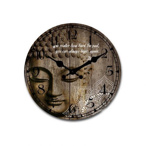 Large White Mandala Pattern Buddha Wooden Wall Clock