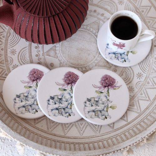 Love Koala Family Flower Ceramic Coasters