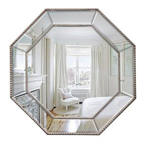 Luxe French Silver Beaded Octagon Wall Mirror