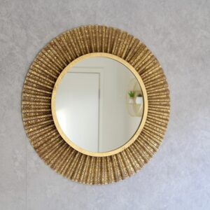 Luxe Gold Contemporary Metal Round Wall Mirror