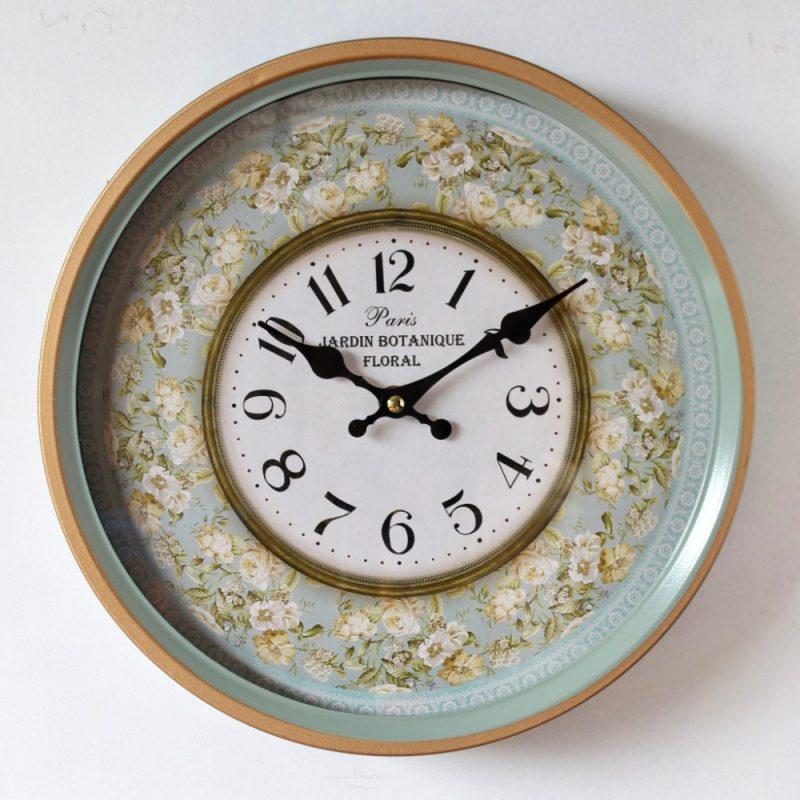 Moroccan Mint Green Floral Glass Metal Wall Clock