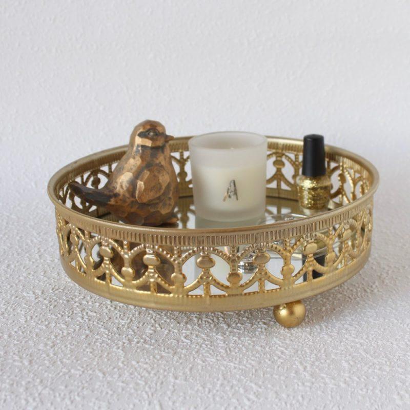 Moroccan Round Gold Mirror Jewellery Serve Tray